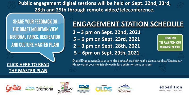 You are invited to attend a Community Engagement event in Cremona at the Farmers Market on September 19th from 12 - 2 pm.